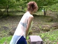 Guy with camera and Japanese MILF find a secluded place in the park where she plays with vibrator and sucks cock 4