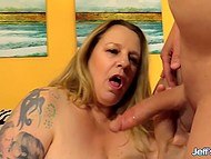 Fatty woman has insatiable sexual appetite and man with massive cock hurries to fuck her 9