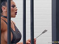 Gorgeous female robot Audrey Bitoni with big hooters receives sexual apologies in the jail 4