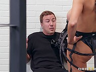 Gorgeous female robot Audrey Bitoni with big hooters receives sexual apologies in the jail 5