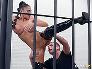 Gorgeous female robot Audrey Bitoni with big hooters receives sexual apologies in the jail 8