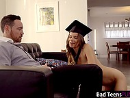 Cute graduate Jillian Janson has to take off academic dress and serve stepdad's cock to be forgiven 5