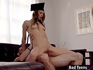 Cute graduate Jillian Janson has to take off academic dress and serve stepdad's cock to be forgiven 7