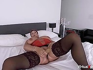 Short-haired MILF from Germany plays with massive melons and masturbates pussy with dildo on webcam