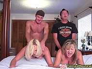 Friends come to naked mature women, fuck them, and ejaculate inside their pussies at the same time 10