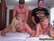 Friends come to naked mature women, fuck them, and ejaculate inside their pussies at the same time