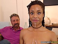 There are three men in the room and Ebony bitch Kira Noir should be ready for double penetration 9
