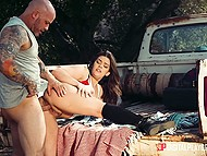 Bald farmer was in mood to fuck girlfriend Kimber Woods on pick-up truck after hard day in field