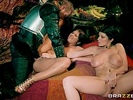 Castle sluts Romi Rain and Ayda Swinger team up to take knight's huge dick up their  9