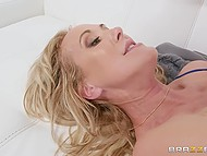 Blonde MILF with big knockers bares her charms and takes younger boyfriend's cock in skillful vulva 9