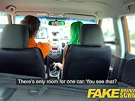 Driving instructor's assertiveness is the reason why green-haired woman takes his cock in pussy 4