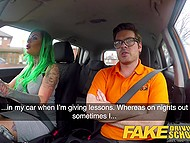 Driving instructor's assertiveness is the reason why green-haired woman takes his cock in pussy 5