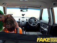Driving instructor's assertiveness is the reason why green-haired woman takes his cock in pussy 8