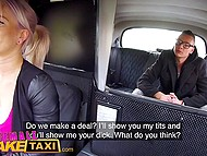 Female taxi driver from Czech shows passenger awesome big tits and guy fucks her in backseat 4
