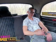 Female taxi driver from Czech shows passenger awesome big tits and guy fucks her in backseat 6