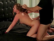 Man fucks Maddy Oreilly in doggystyle position after tied to bed girl is flogged and spanked