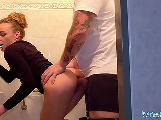 Czech pickup artist brings good-looking girl from France to restroom where she serves his cock for money