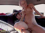 Tempting taxi driver dislikes money and prefers to be paid with passenger's dick that she sucks and gets fucked by 10