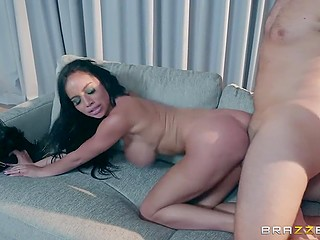 Dazzling Latina Victoria June covers massive breasts with feathers when strange man comes but then decides to take care of his cock