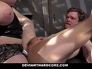 Whip spanked booty of man and then his torturer straponed him and rode his hard cock 8