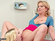 Doctor Cherie Deville calls young nurse to come to her office where they practice cunnilingus and scissoring 8