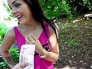 Smart bitch gets paid well by man with camera who wants to get satisfied in local public park