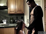 Girl stays at boyfriend's house and his black stepdad doesn't lose chance to fuck her and creampie in the kitchen
