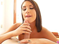 Amazing babe August Ames shows natural breasts and ass before gives blowjob on camera 11