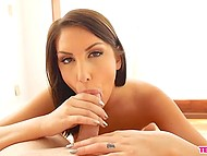 Amazing babe August Ames shows natural breasts and ass before gives blowjob on camera 9