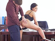 Business deal is broken still young boss fucks stunning secretary Annie Wolf on the table