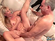 Young husband doesn't have enough sexual experience and mature wife worships old man's cock 9