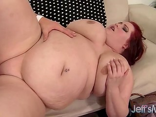 Bald male expands sexy BBW's tight pussy with cock and cums over her chubby cheeks