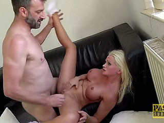 Permission to touch pornstar's body is granted so Englishman can now fuck all of her holes
