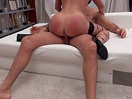 Mouth and pussy of babe with long legs are ready for adventures with Rocco Siffredi 9