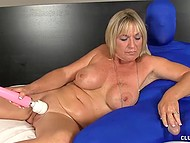 Milf tired from boring sex and invited the husband to wear a blue jumpsuit, and she'd jerked him off