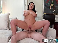 Estate agent Angela White with big natural hooters is addicted to sex and guy fucks smooth cunt