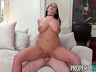 Estate agent Angela White with big natural hooters is addicted to sex and guy fucks smooth cunt 7