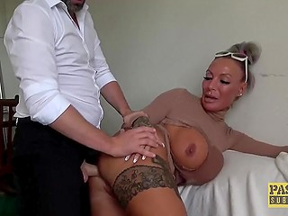 British whore with plump lips and immense coconuts is ready to enjoy anal cock riding for hours