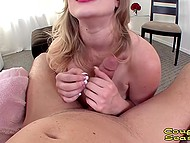 Mature housewife with natural breasts gets on knees to suck partner's erect manhood 4