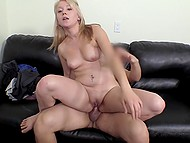 Man fucks blonde cutie at porn casting and thick drop of semen flows out of shaved pussy
