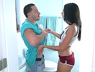 Unsatisfied teen Vienna Black dragged stepbro in bathroom to surprise him with blowjob 7