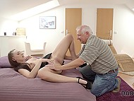 Busy guy can't pay attention to splendid girl and she takes his old stepdad upstairs where blows cock after man fingers her pussy 4