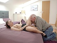 Busy guy can't pay attention to splendid girl and she takes his old stepdad upstairs where blows cock after man fingers her pussy 8