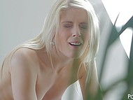Sensual sex of attractive blonde and her boyfriend starts with unhurried oral caresses 4