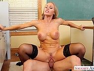 Slutty teacher Nicole Aniston obtains cum on beautiful face after sex with muscled colleague 4