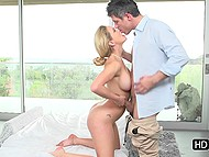Splendid blonde MILF Cherie Deville and her man won't make love until finish oral foreplay 5
