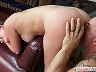 Pleasant Dani Daniels rides cock and bald man fucks her from behind to bring girl to orgasm 8