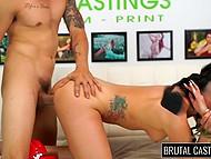 Merciless Latin guy energetically fingers brunette's pussy then nails her throat and fucks hard 7
