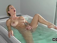 Busty lovely Cherie Deville decides to take bath before lovemaking and can't resist masturbating pussy