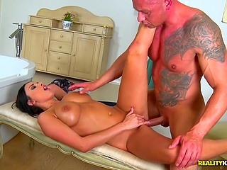 Lover ejaculates all over juicy tits of hot brunette Anissa Kate after fun in bathroom